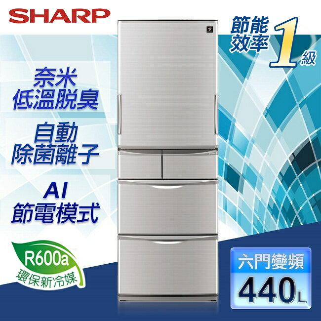 ~ ~~SHARP夏普~440公升變頻五門左右開式冰箱~晶燦銀/SJ~XW44BT~N