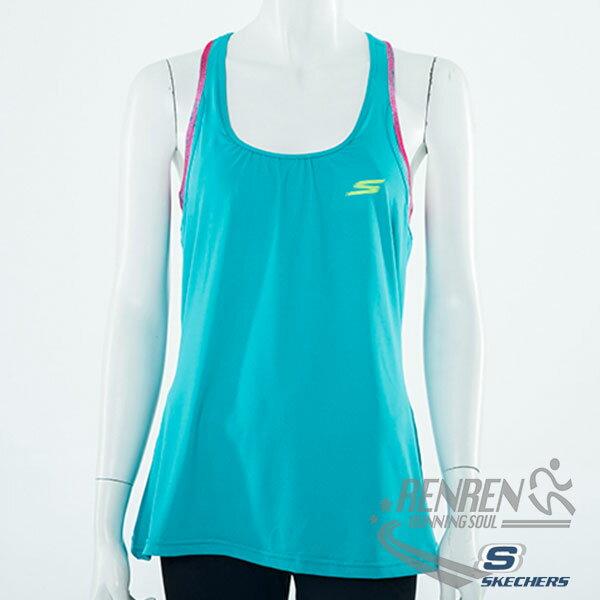 SKECHERS女運動背心(土耳其藍色)慢跑背心休閒運動適用