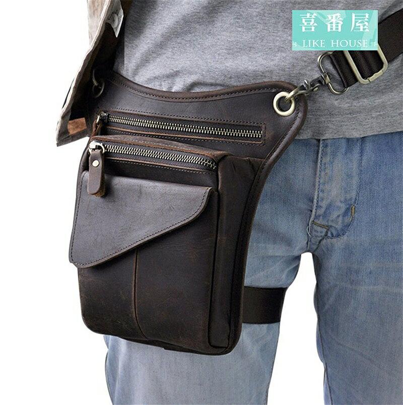 喜番屋】日韓版真皮頭層牛皮隨身8吋多隔層腿包腰包手機包男包肩背包LB118