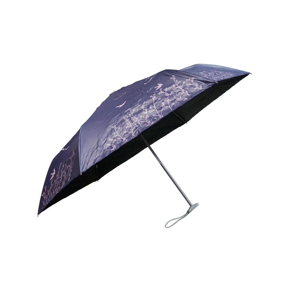 雨傘 陽傘 ☆萊登傘☆ 抗UV  扁傘 口袋傘  黑膠 色膠三折傘 直開 不夾手  Leotern  飛燕印花 特價 799