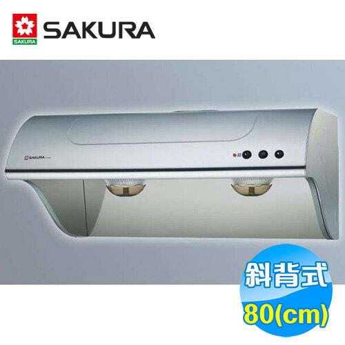 櫻花 SAKULA 80公分斜背式不鏽鋼雙效除油抽油煙機 R-3260SL