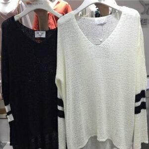 美麗大街【KA24】 韓國東大門寬鬆條紋鏤空開叉V領防曬針織衫薄款毛衫上衣女
