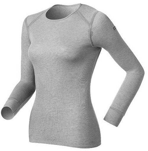 【【蘋果戶外】】odlo 152021 女圓領 灰『送polartec手套』瑞士 機能保暖型排汗內衣 衛生衣 發熱衣 保暖衣 長袖