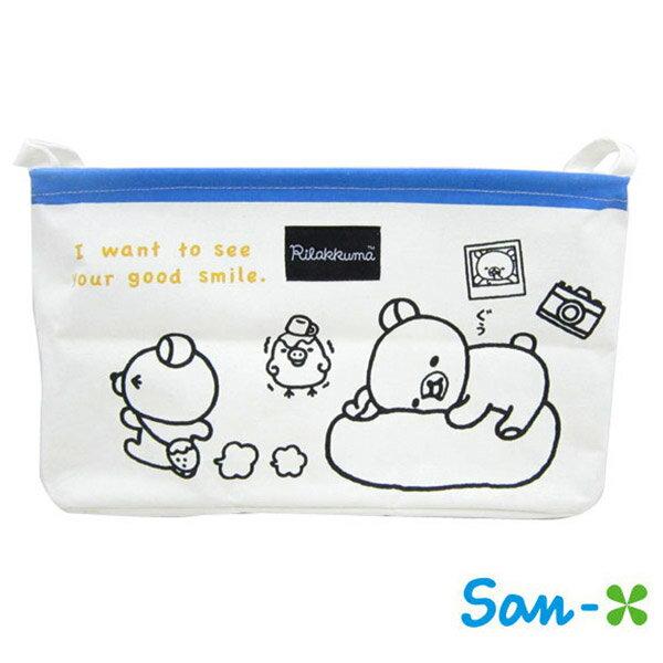 藍色款【日本進口】San-X 拉拉熊 帆布 折疊 收納籃 衣物收納 置物籃 懶懶熊 Rilakkuma - 226069