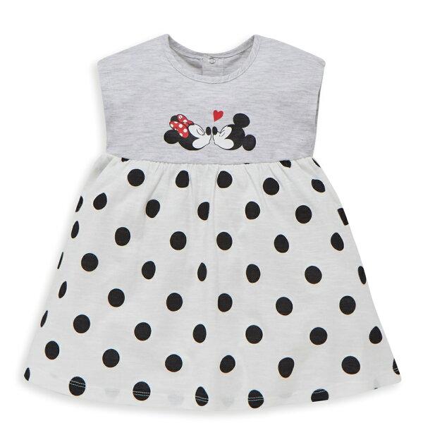 Disneybaby米妮系列小甜蜜圓點洋裝-淺麻花灰