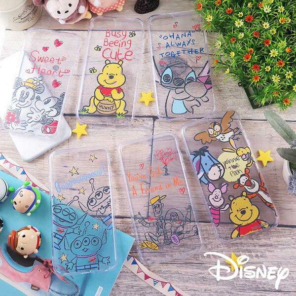 Miravivi:Disney迪士尼iPhone6sPlus7Plus8Plus共用(5.5吋)共用防摔氣墊空壓保護套_Q版鉛筆素描
