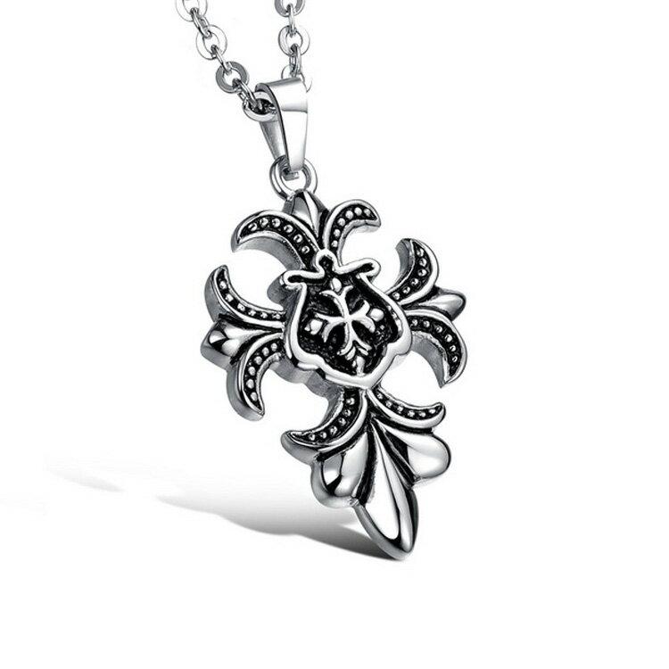 Mao【5折超值價】  情人節禮物最新款歐美風格復古特色十字架造型男款鈦鋼項鍊