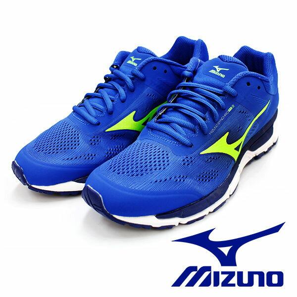 【MIZUNO促銷5折】MIZUNOSYNCHROMX2藍X螢光綠男休閒鞋運動鞋健走鞋跑鞋J1GE171941