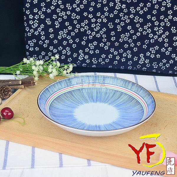 ~堯峰陶瓷~ 美濃燒 彩虹十草 8吋盤 圓盤 餐盤 線條紋