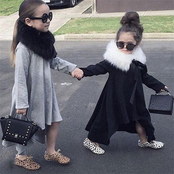 ins 下擺 不規則 洋裝 長袖 T 棉 A字裙 連衣裙 長裙  黑灰 百搭  小洋裝 傘狀 中童 ANNA S.