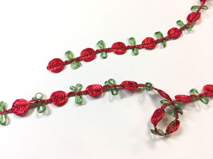 【Crystal Rose緞帶專賣店】10mm 花飾織帶 (9色) 0