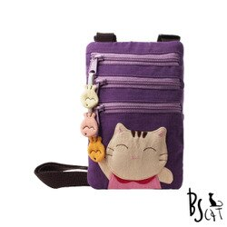 【ABS貝斯貓】可愛貓咪拼布 郊遊隨身包 肩/斜背包(紫色88-195) 【威奇包仔通】