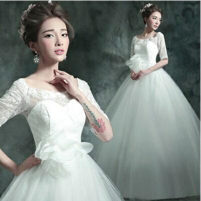 天使嫁衣【AE488】白色蕾絲中袖大花高腰齊地婚紗禮服˙預購訂製款