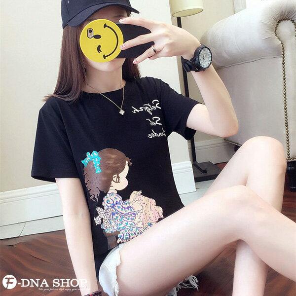 F-DNA★清新小女孩側影印圖圓領短袖上衣T恤(3色-M-2XL)【ET12698】 4