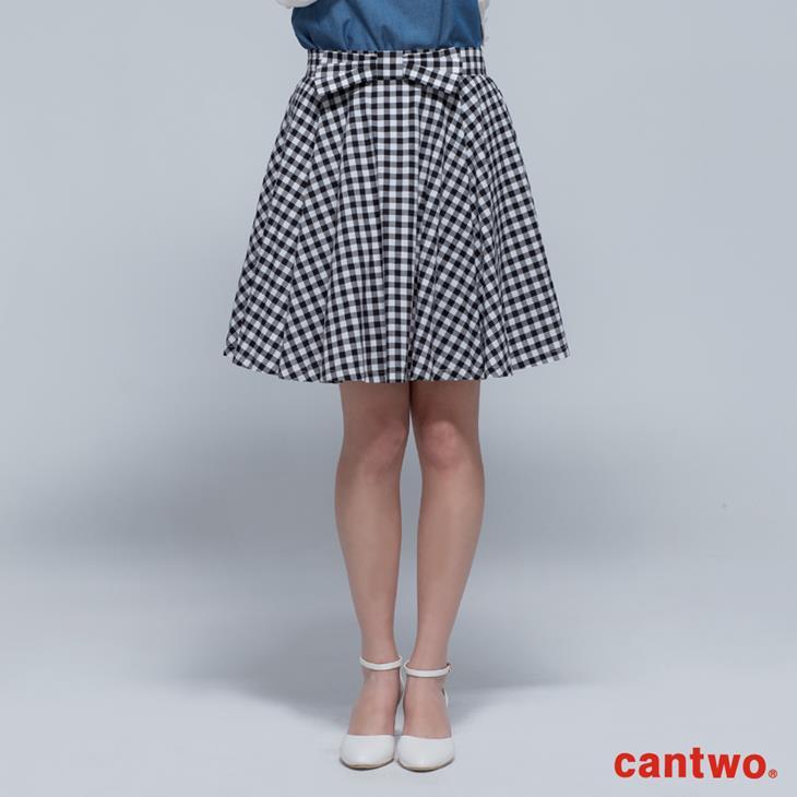 cantwo傘狀雙色格紋短裙(共二色) 0