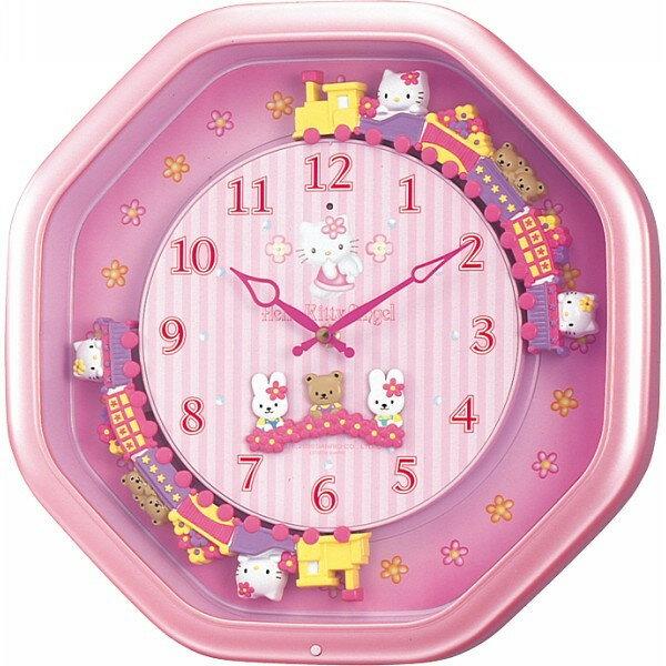 【真愛日本】14060900003 與朋友八角火車鐘-晶亮粉 三麗鷗 Hello Kitty 凱蒂貓 時鐘 掛鐘 壁鐘 正品 限量 預購