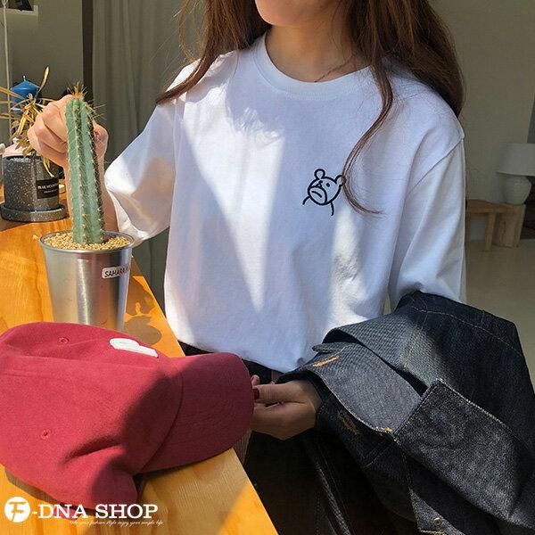 F-DNA★萌萌小熊刺繡圓領短袖上衣T恤(3色-均碼)【ET12703】 1