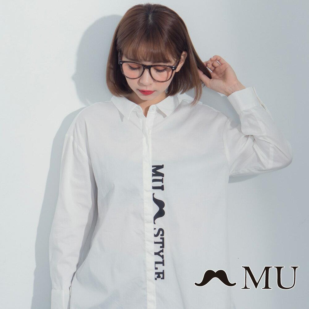 【MU】LOGO印花前短後長後開岔襯衫 8323163 2