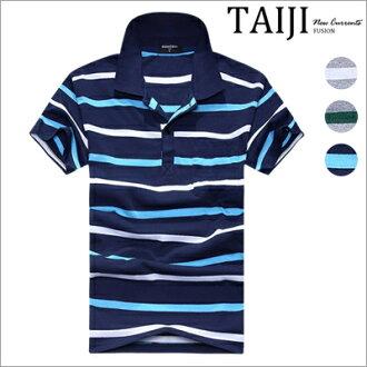 條紋POLO衫‧雙色條紋立領短袖POLO衫‧三色【NTJBPT243】-TAIJI