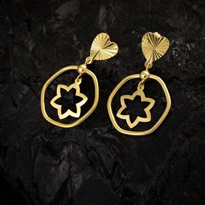 ~純銀耳環鍍18K金鑲鑽耳飾~柔美星星形狀情人節生日 女飾品73cx50~ ~~米蘭 ~