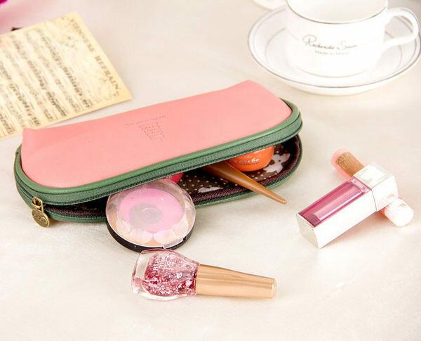 韓國可愛加州陽光化妝包大容量收納包多功能PU皮手拿包【庫奇小舖】
