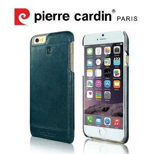 [ iPhone6/6S Plus ] Pierre Cardin法國皮爾卡登5.5吋高級牛皮品牌經典不敗款真皮手機殼/保護殼 藍色