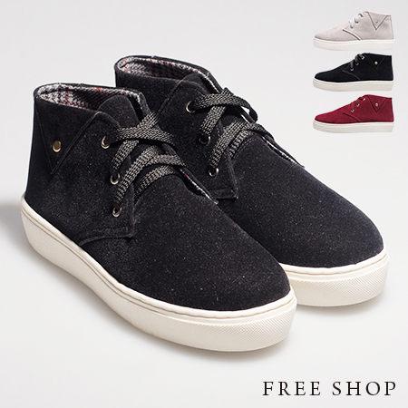 Free Shop~QSH0393~日韓風格三角反摺 麂皮保暖綁帶中高筒休閒鞋‧三色^(F