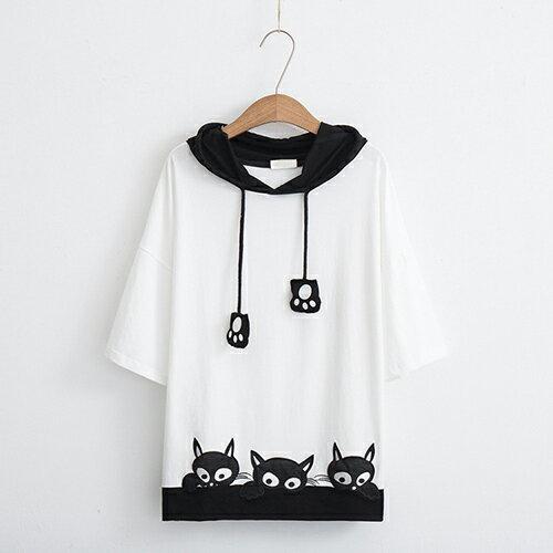 *ORead*卡通貓咪刺繡短袖連帽衫(3色M~L) 0