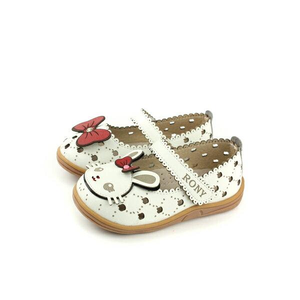小女生鞋娃娃鞋皮質中童童鞋白色兔子21385no112