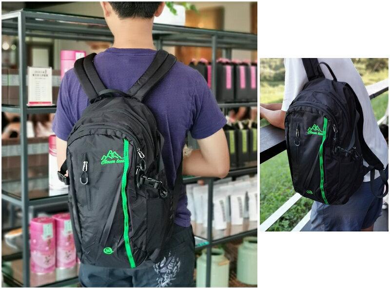 美麗大街【108080823】黑色綠線條搭配雙肩運動後背包