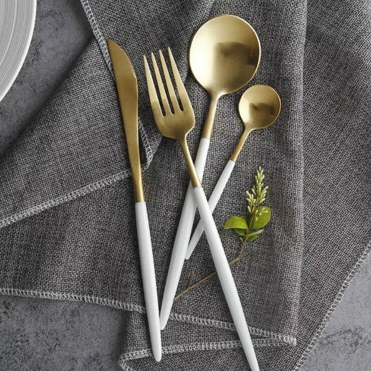 歐式質感 啞光不鏽鋼餐具套組 304不鏽鋼 白金系列 現貨 部落客 Red 選用推薦款 激推人氣款 外出餐具