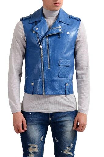 "Maison Margiela ""10"" 100% Leather Blue Full Zip Men's Vest US M IT 50 5491236a1c4aad810b4ffcc6bf599e70"