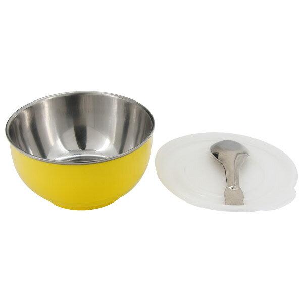 兒童附蓋隔熱碗(附湯匙) YE #304不鏽鋼 NITORI宜得利家居 0