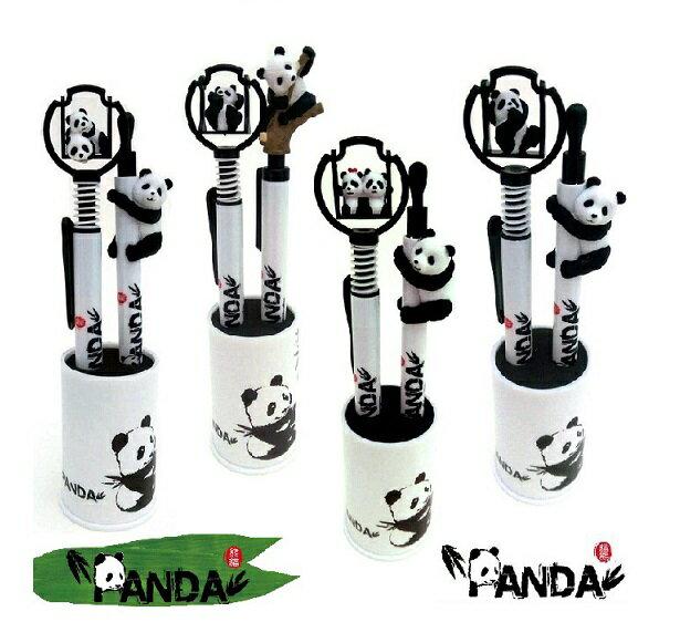PANDA 黑白造型熊貓小公仔 圓珠筆+自動鉛筆+迷你筆筒 貓圓仔筆/貓熊筆/圓珠筆/原子筆 婚禮小物/簽名筆/畢業禮 文具用品 卡通