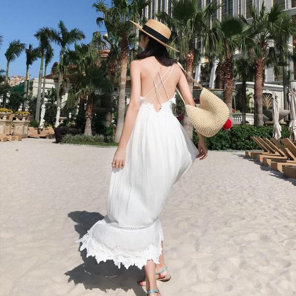 PSMall海邊渡假露背顯瘦沙灘裙連身裙洋裝【T044】