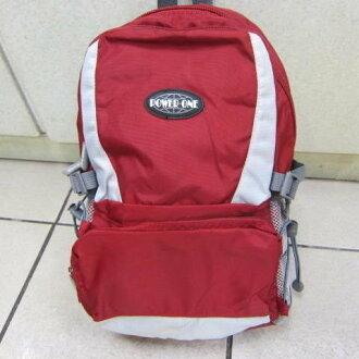 ~雪黛屋~POWERONE BAG 電腦後背包 可放小型尺吋筆電 防水尼龍布材質外出上學萬用包33-839 紅