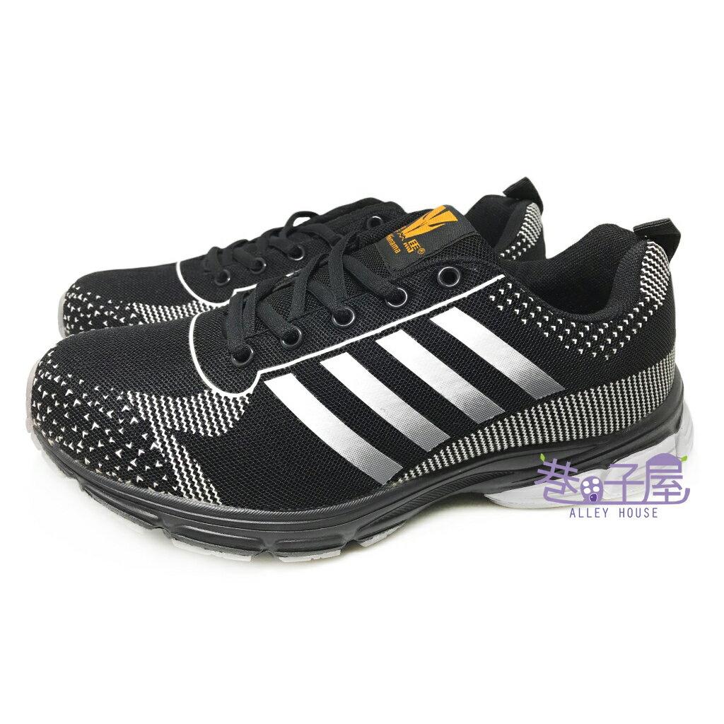 【巷子屋】Hanama悍馬 男款四條超輕量寬楦運動慢跑鞋 [3112] 黑銀 超值價$498