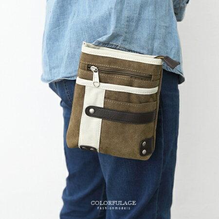 <br/><br/> 腰包 多功能厚實帆皮皮革雙色掛包 隨身側背包/手機包/零錢包 柒彩年代【NZ443】單個售價<br/><br/>