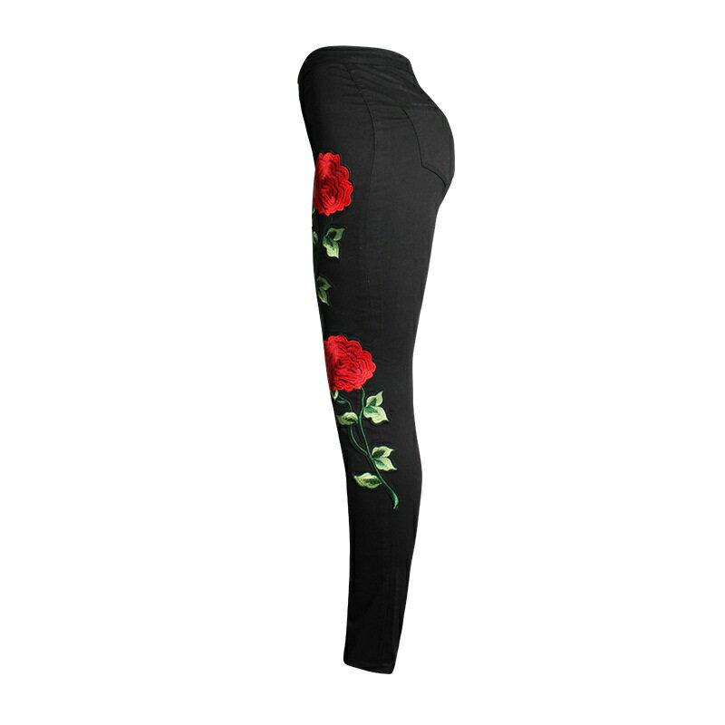 牛仔褲丹寧小腳褲-黑色玫瑰刺繡破洞女長褲73wx12【獨家進口】【米蘭精品】 1