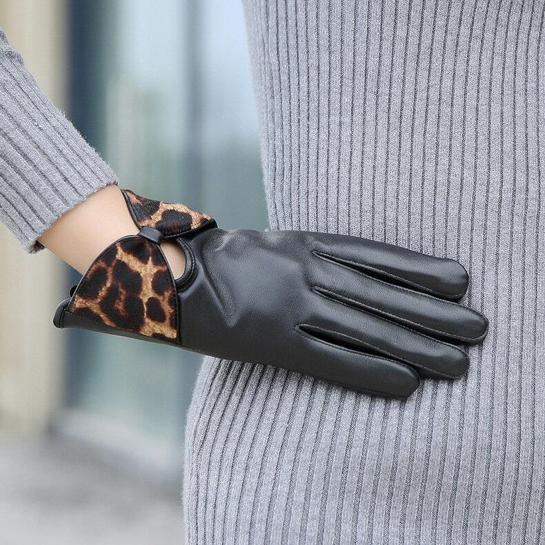 真皮手套保暖手套-羊皮加絨豹紋蝴蝶結女手套73wm57【獨家進口】【米蘭精品】 2