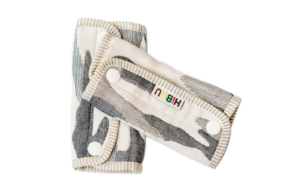 HiBOU-六重紗-背帶防污口水巾(迷彩灰)