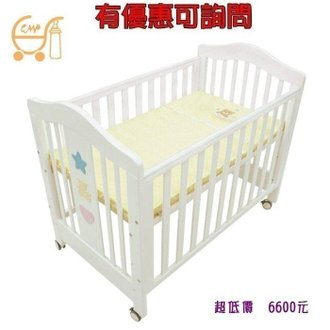 *美馨兒* 東京西川 GMP BABY 玩具熊寬大白床X-025(附乳膠床墊)+側板(白色) 6600元(有優惠可詢問)
