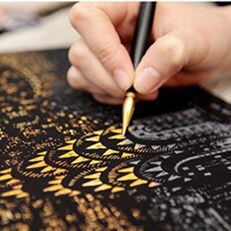 韓國 Lago Scratch Pen 金色刮畫專用刮刮金筆(1入)