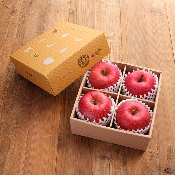【菓實屋】免運!★日本青森 富士蜂蜜蘋果★  ◆4入禮盒裝 ◆結蜜美味,酸度低甜度高 新年喜氣首選伴手禮