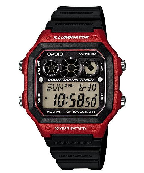【東洋商行】CASIO 卡西歐 10年電力亮眼設計方形數位錶  AE-1300WH-4AVDF 原廠公司貨 附保證卡 保固期一年
