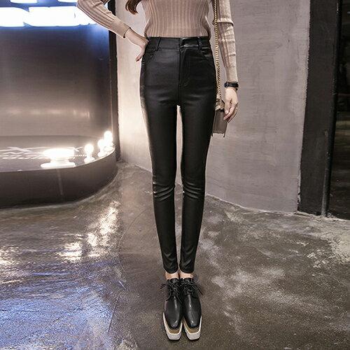 韓版高腰加絨加厚PU皮褲(黑色S~3XL) 【OREAD】 0