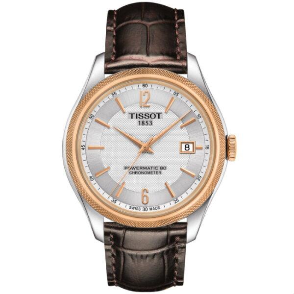 TISSOT天梭T1084082603700矽游絲天文台80小時動力儲存時尚機械腕錶白面41mm