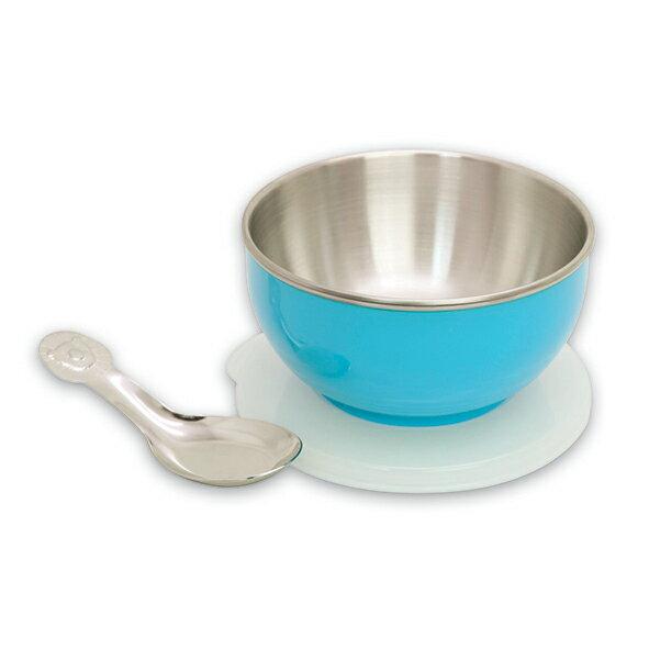 genki bebi 元氣寶寶 不鏽鋼寶寶碗(附蓋+湯匙) 藍色