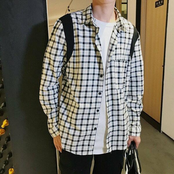 FINDSENSEH12018春裝新款個性格子襯衫免燙長袖襯衫