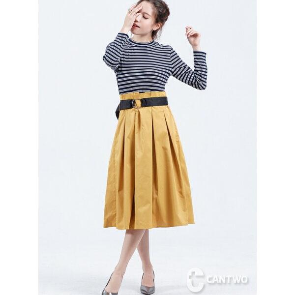 CANTWO:CANTWO羅紋針織高腰假兩件洋裝(共三色)